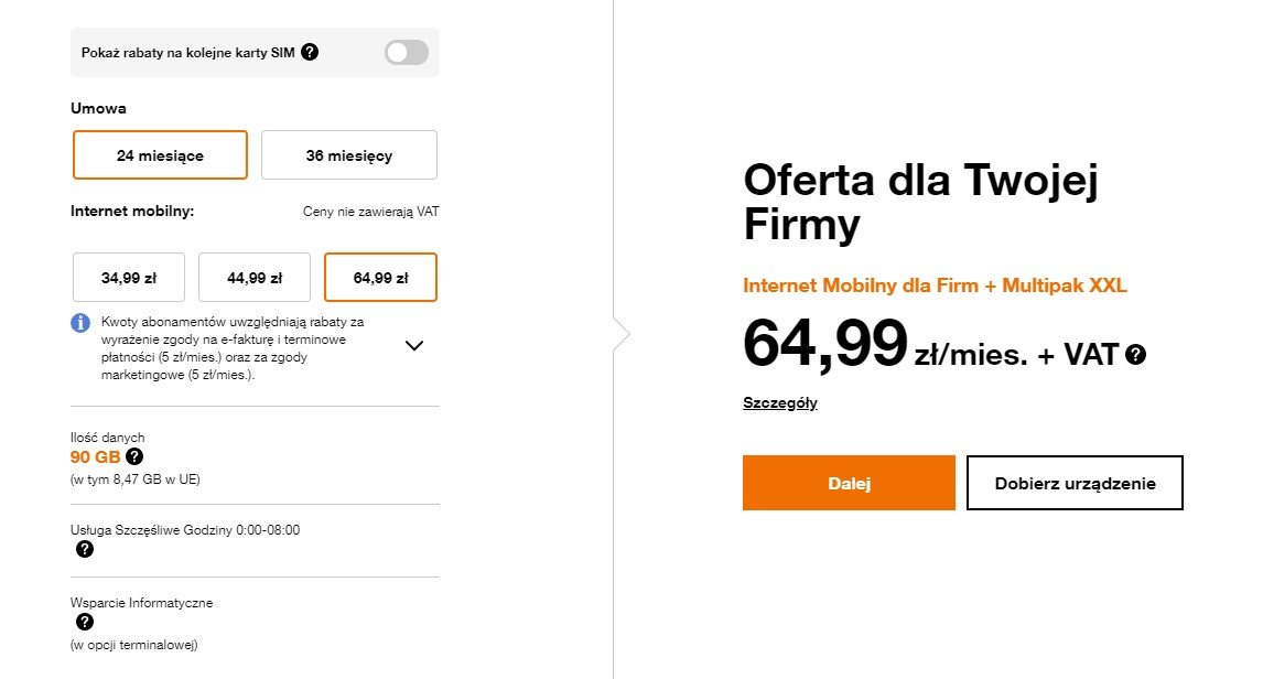 Internet mobilny bez limitu dla firm Orange
