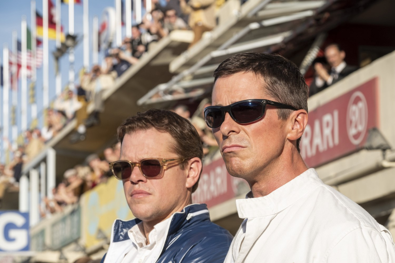Matt Damon and Christian Bale in Twentieth Century FoxŐs FORD V. FERRARI.