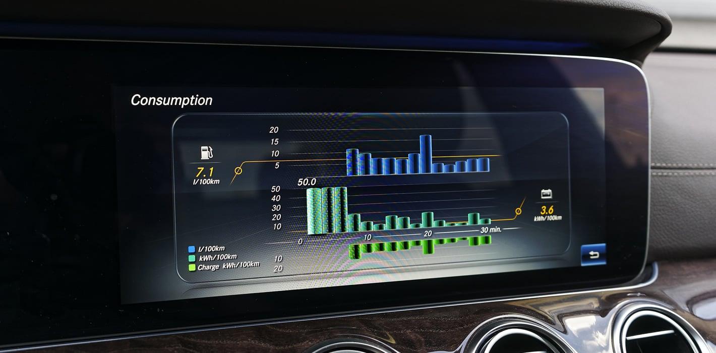 Mercedes-Benz E 350e Hybryda Plug-In - statystyki zużycia energii