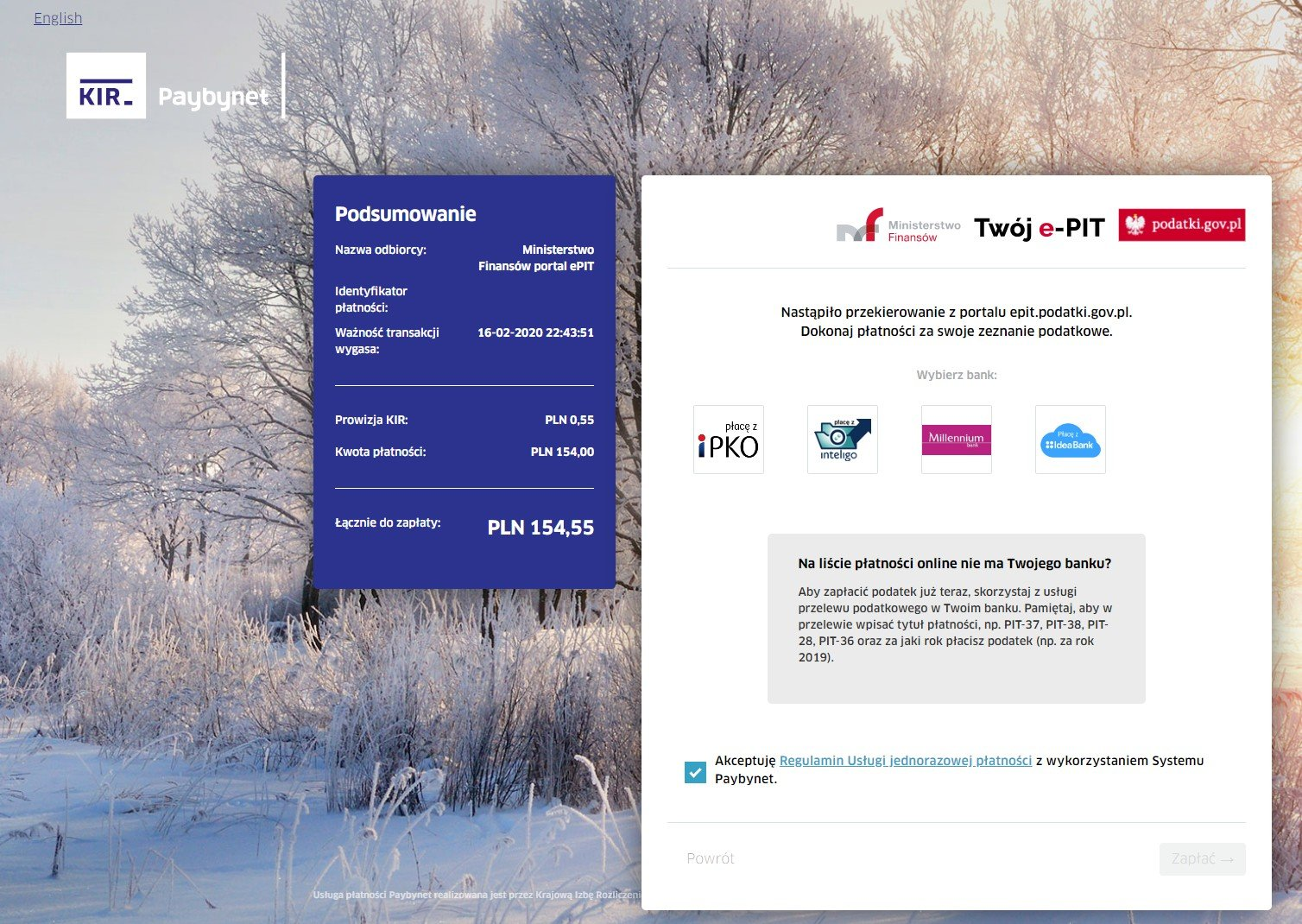 Twoj e-PIT płatność online KIR paybynet