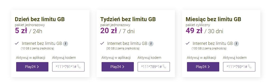 kod na pakiet internetowy play