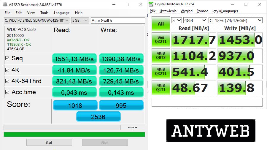 Acer Swift 5 wydajność SSD