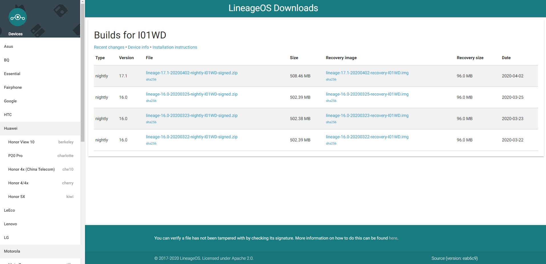 LineageOS - modele smartfonów