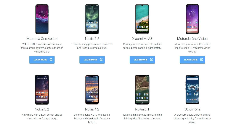 Wybór modeli z Android One
