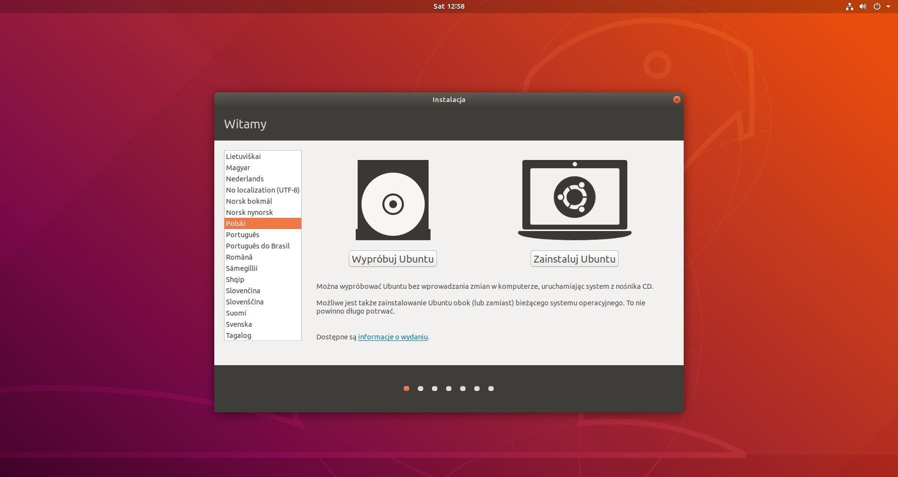ubuntu instalacja ekran początkowy