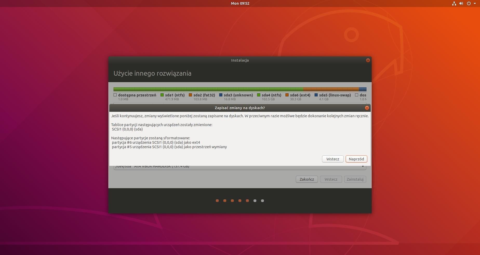 ubuntu partycjonowanie zapis zmian