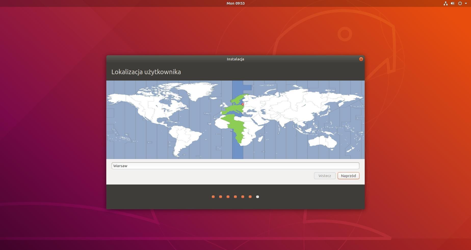 ubuntu instalacja wybór lokalizacji