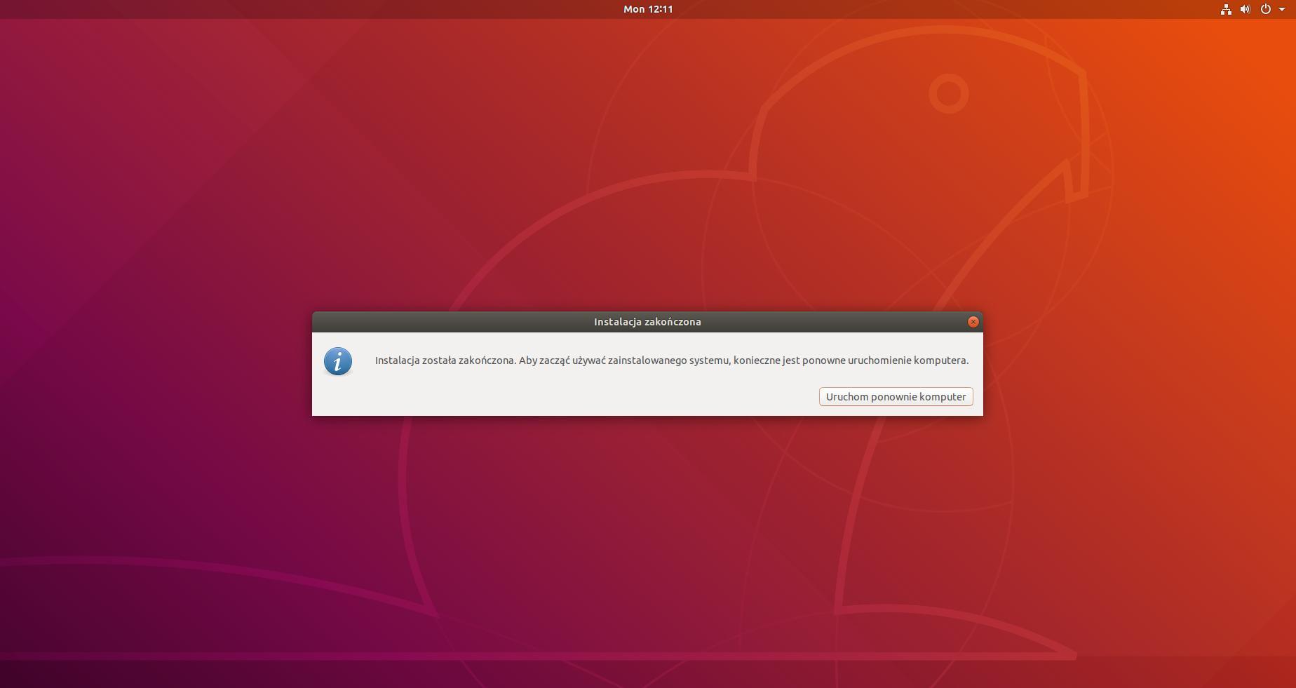 ubuntu koniec instalacji