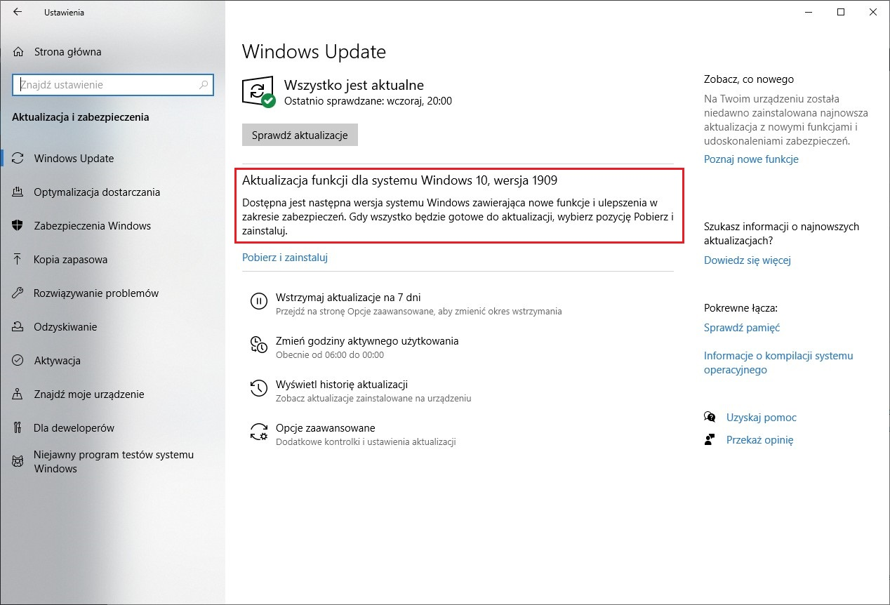 Windows Update wersja 1909