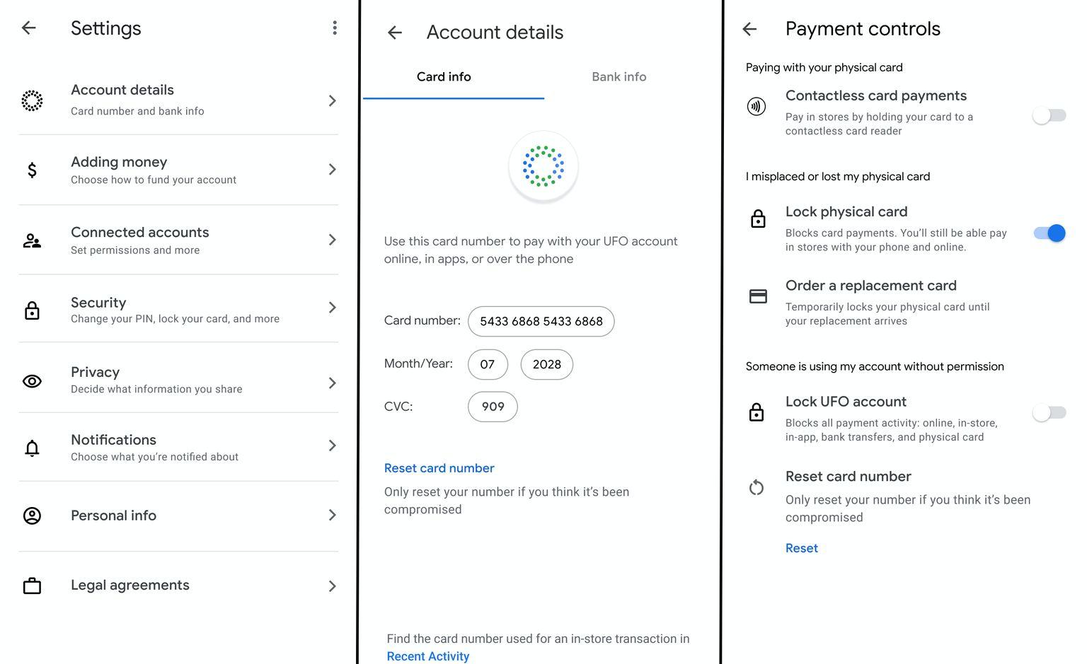 Google Card ustawienia w Google Pay