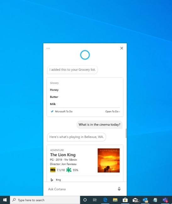 Windows 10 2004 Cortana