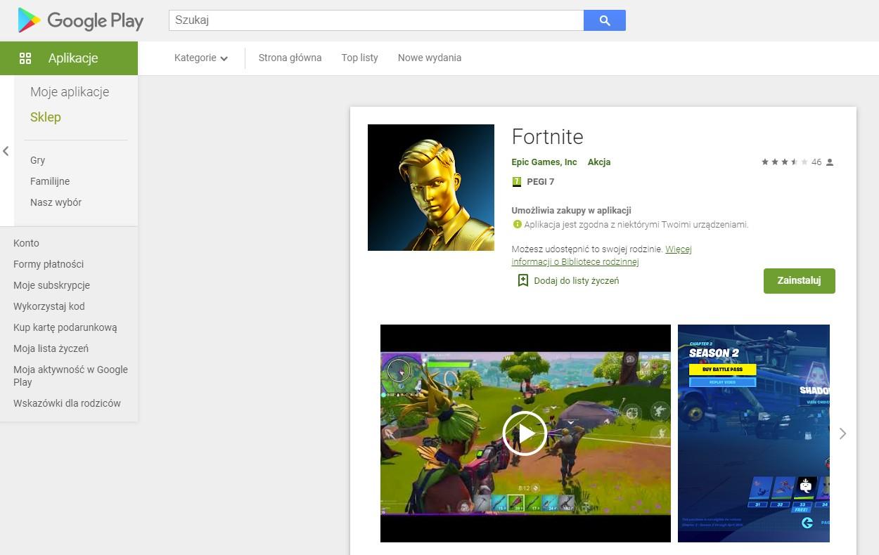 Fortnite w sklepie Google Play