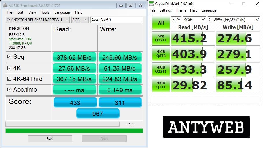 Acer Swift 3 wydajność SSD