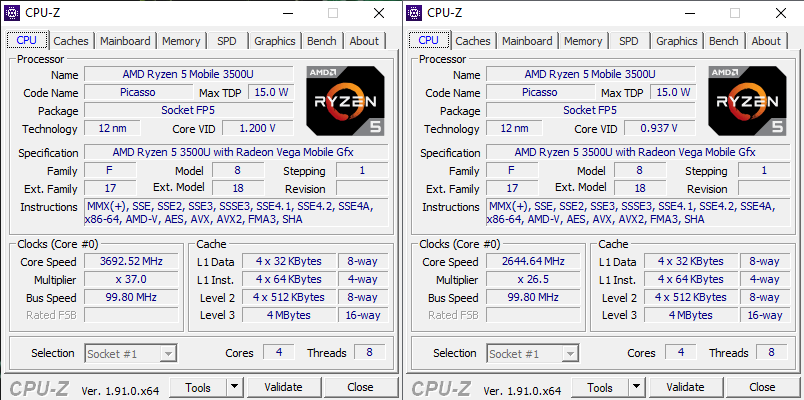 Acer Swift 3 Ryzen 5 3500 CPU-z