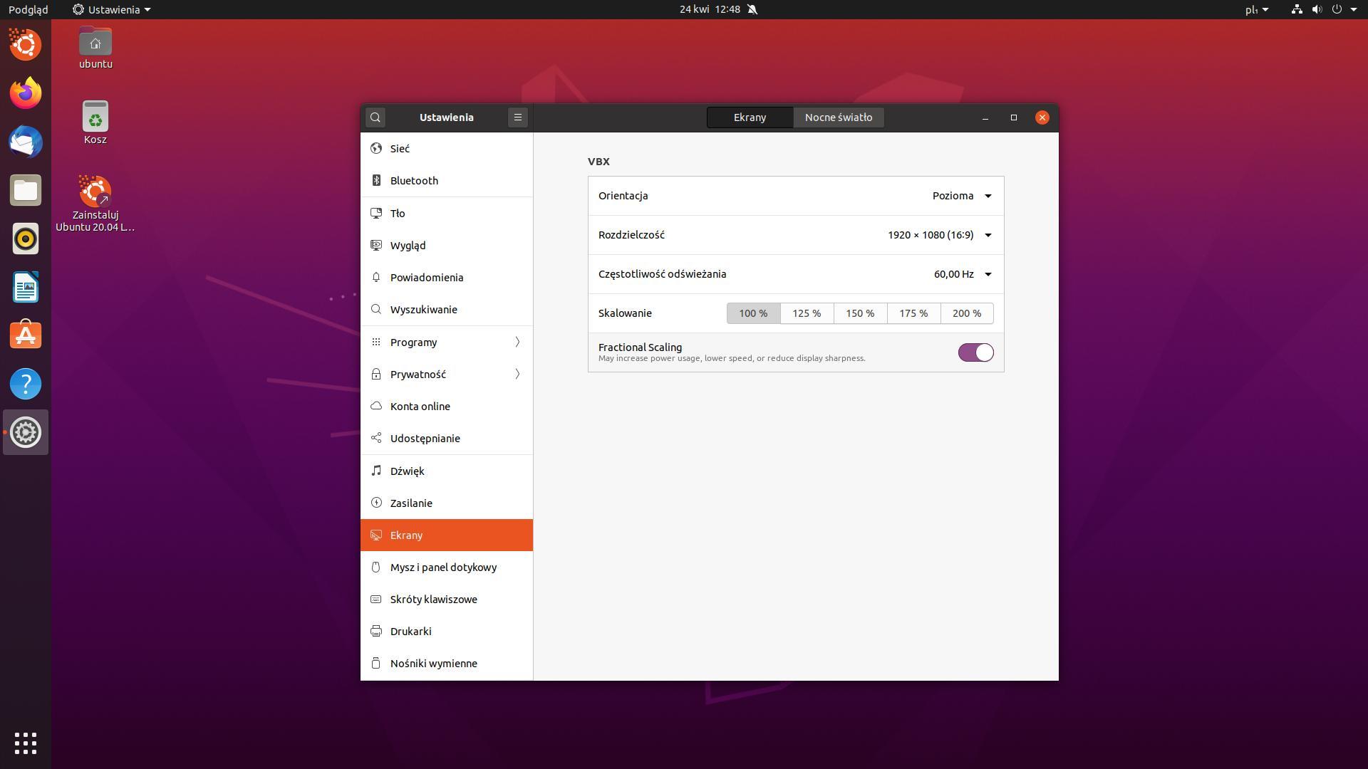 ubuntu opcje ekranu