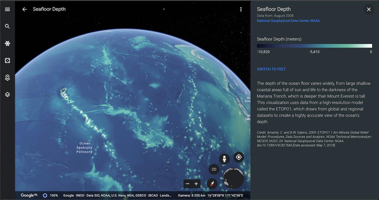 Google Maps 3D: głębiny oceanu