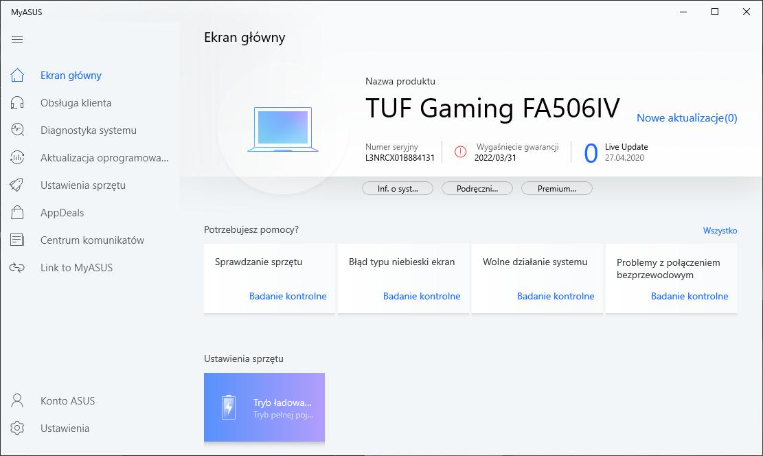 ASUS TUF Gaming A15 - MyASUS