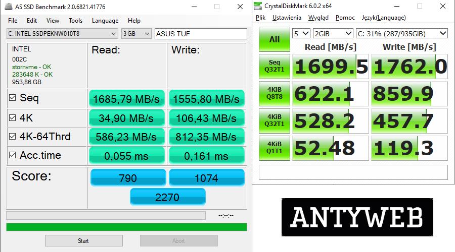 ASUS TUF Gaming A15 wydajność SSD Intel 660p