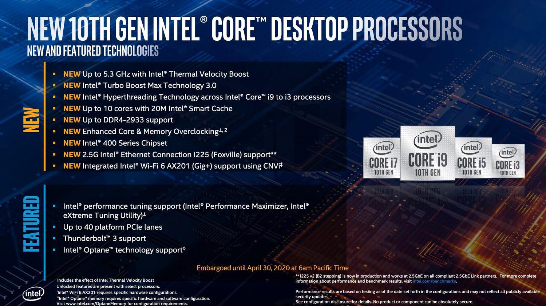 Intel Comet Lake-S zalety nowej platformy