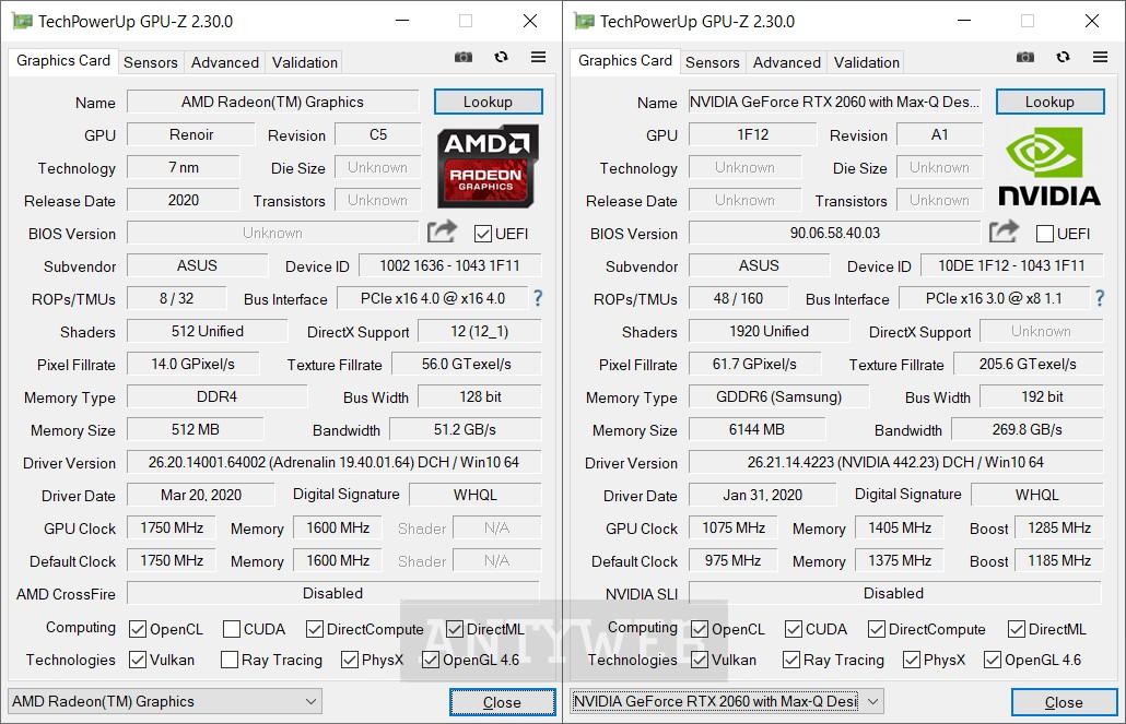 ASUS ROG Zephyrus G14 GPUZ GeForce RTX 2060 Max-Q