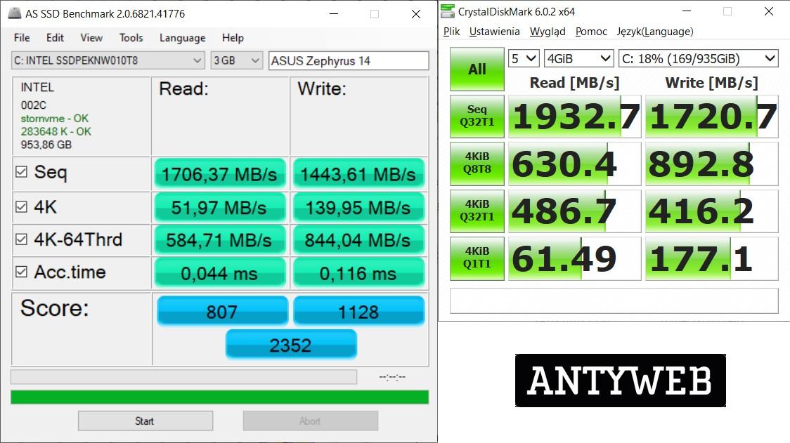 ASUS ROG Zephyrus G14 wydajność dysk SSD