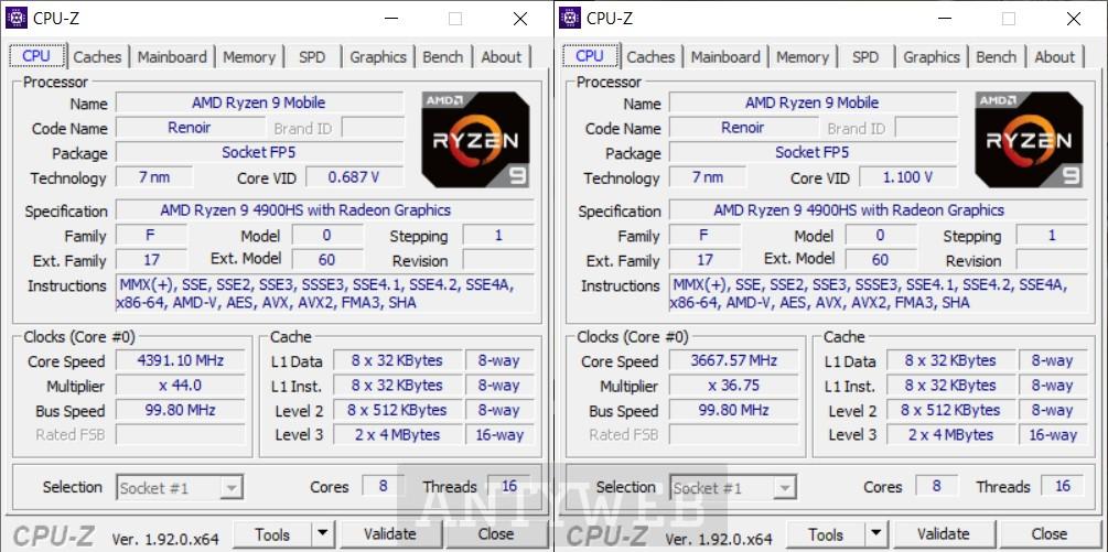 ASUS ROG Zephyrus G14 CPUZ Ryzen 9 4900HS