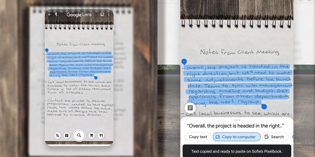 google lens kopiowanie tekstu odręcznie napisanego