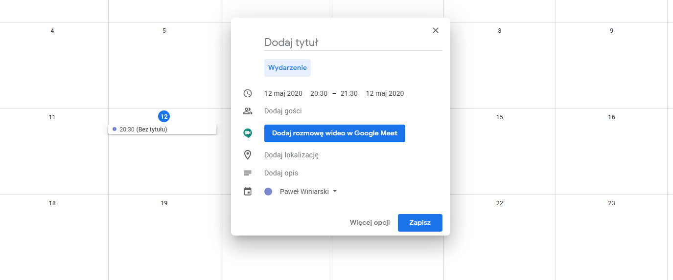Google Meet kalendarz Google