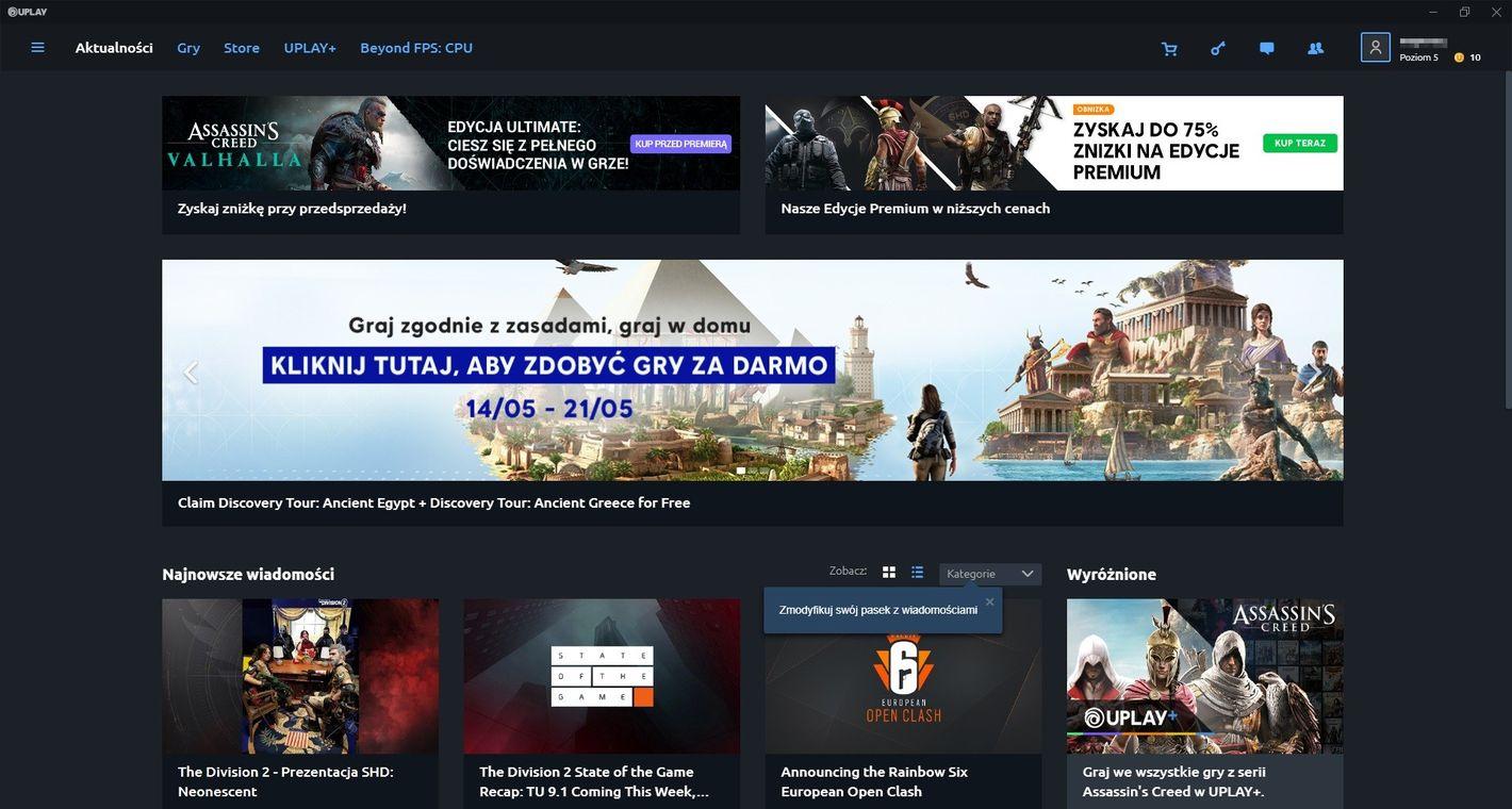 Uplay główny ekran klienta