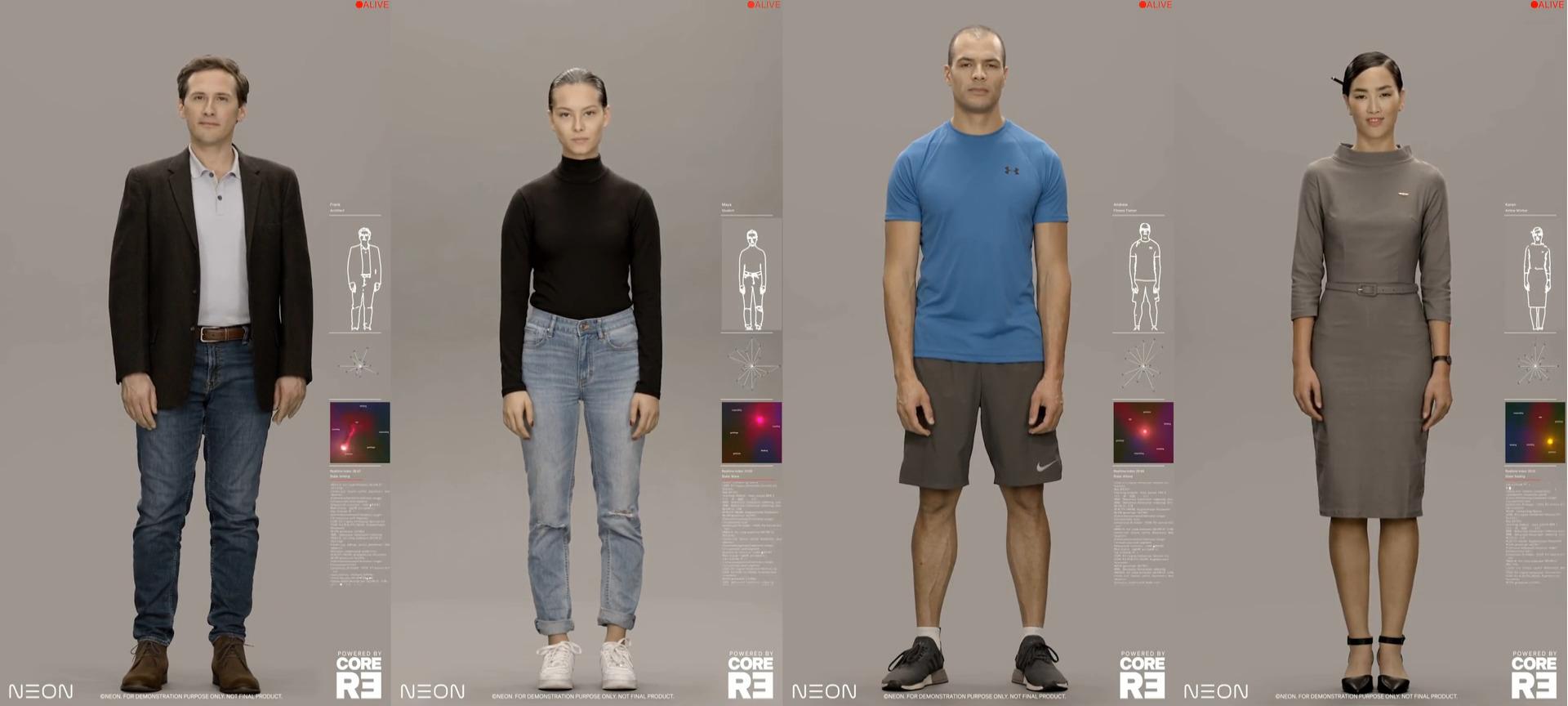 Różne postacie z projektu Neon