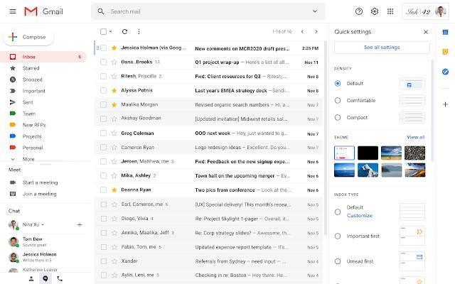 gmail szybkie ustawienia