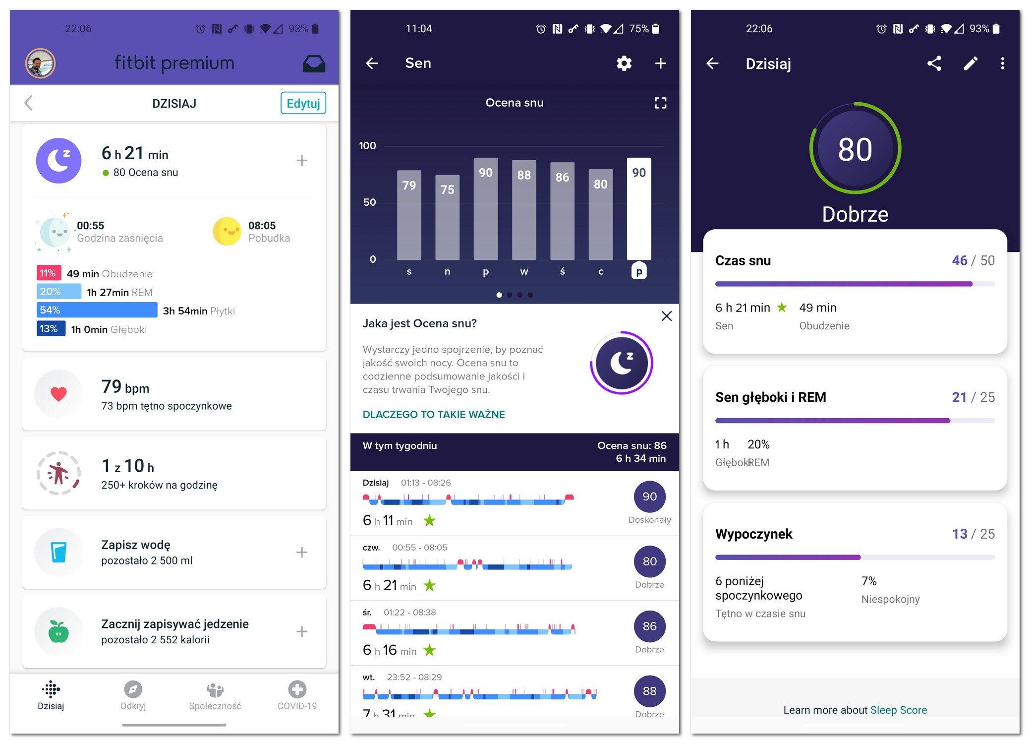 Fitbit monitorowanie snu