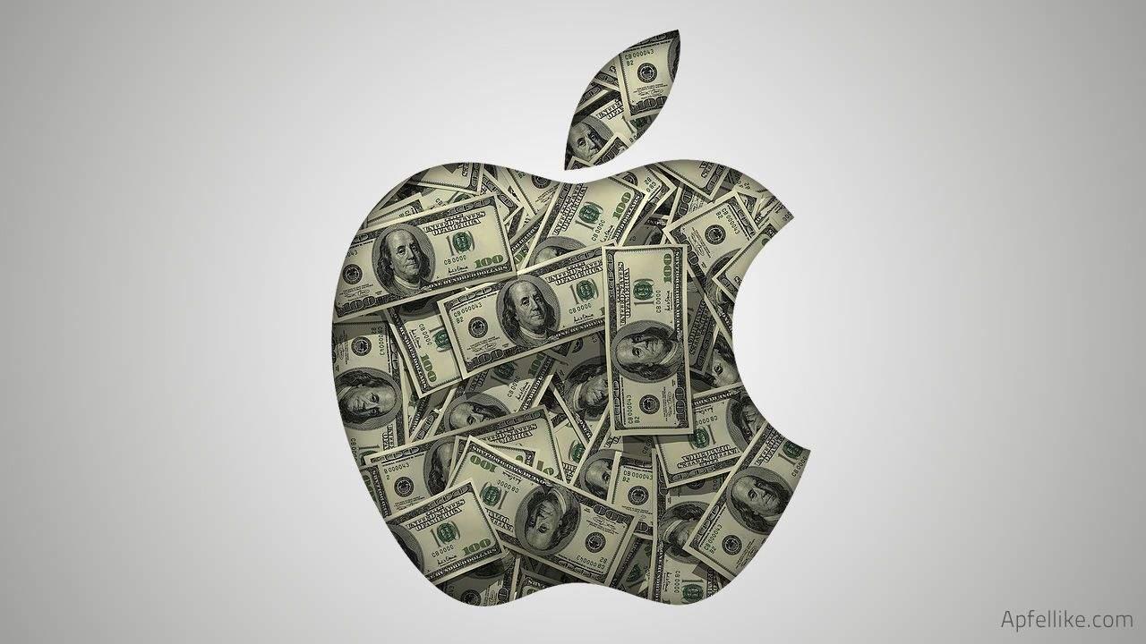 apple logo pieniądze