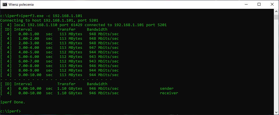 iPerf pomiar sieci LAN