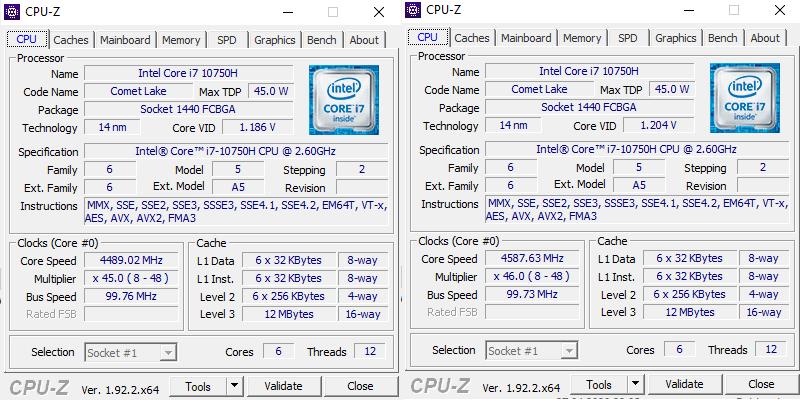 Razer Blade 15 2020 CPU-Z
