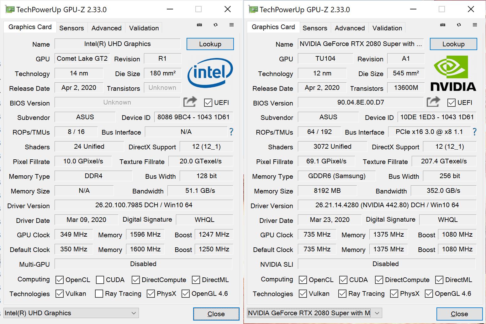 ASUS ROG Zephyrus Duo 15 GPU-Z RTX 2080 Super Max-Q