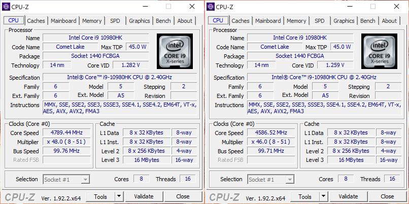 ASUS ROG Zephyrus Duo 15 CPU-Z