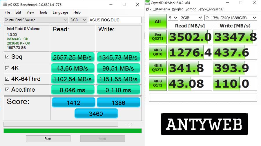 ASUS ROG Zephyrus Duo 15 wydajność dysku SSD