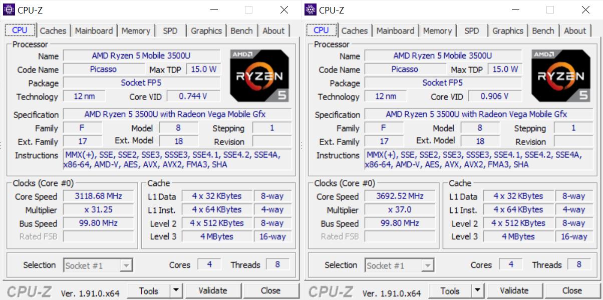 Huawei Matebook 13 CPU-Z