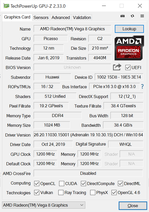 Huawei Matebook 13 GPU-Z