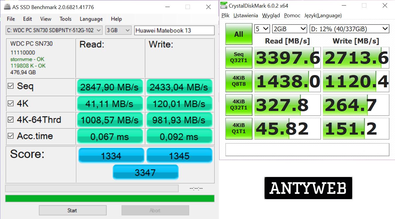 Huawei Matebook 13 wydajność dysku SSD