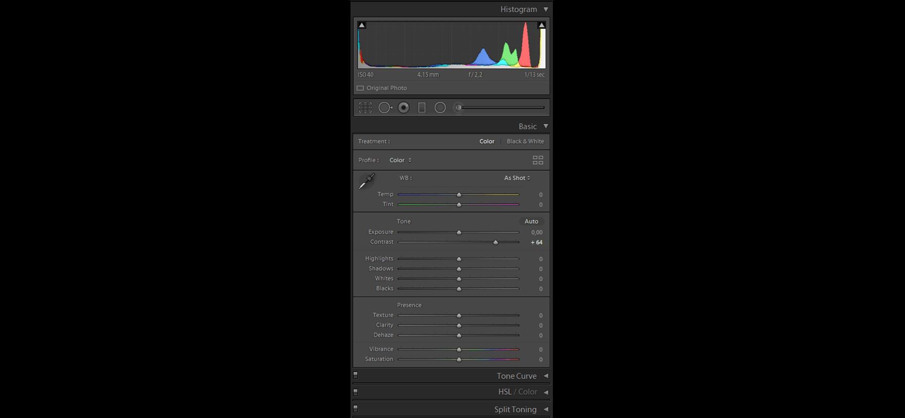 histogram w Adobe Lightroom