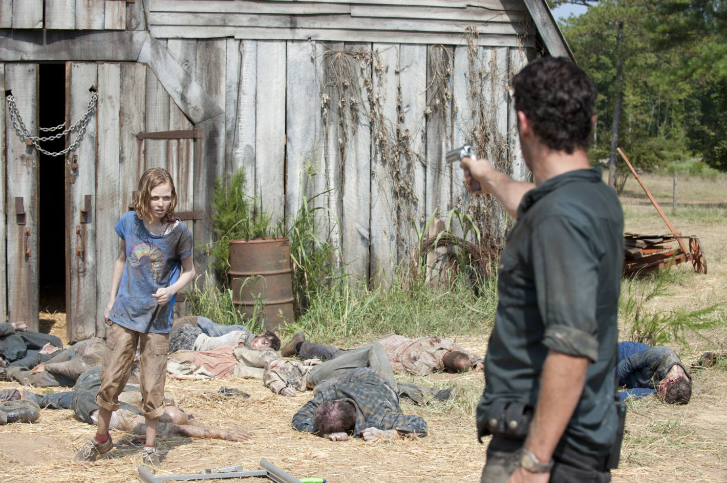 Walker Sophia (Madison Lintz) and Rick Grimes (Andrew Lincoln) - The Walking Dead - Season 2, Episode 7 - Photo Credit: Gene Page/AMC