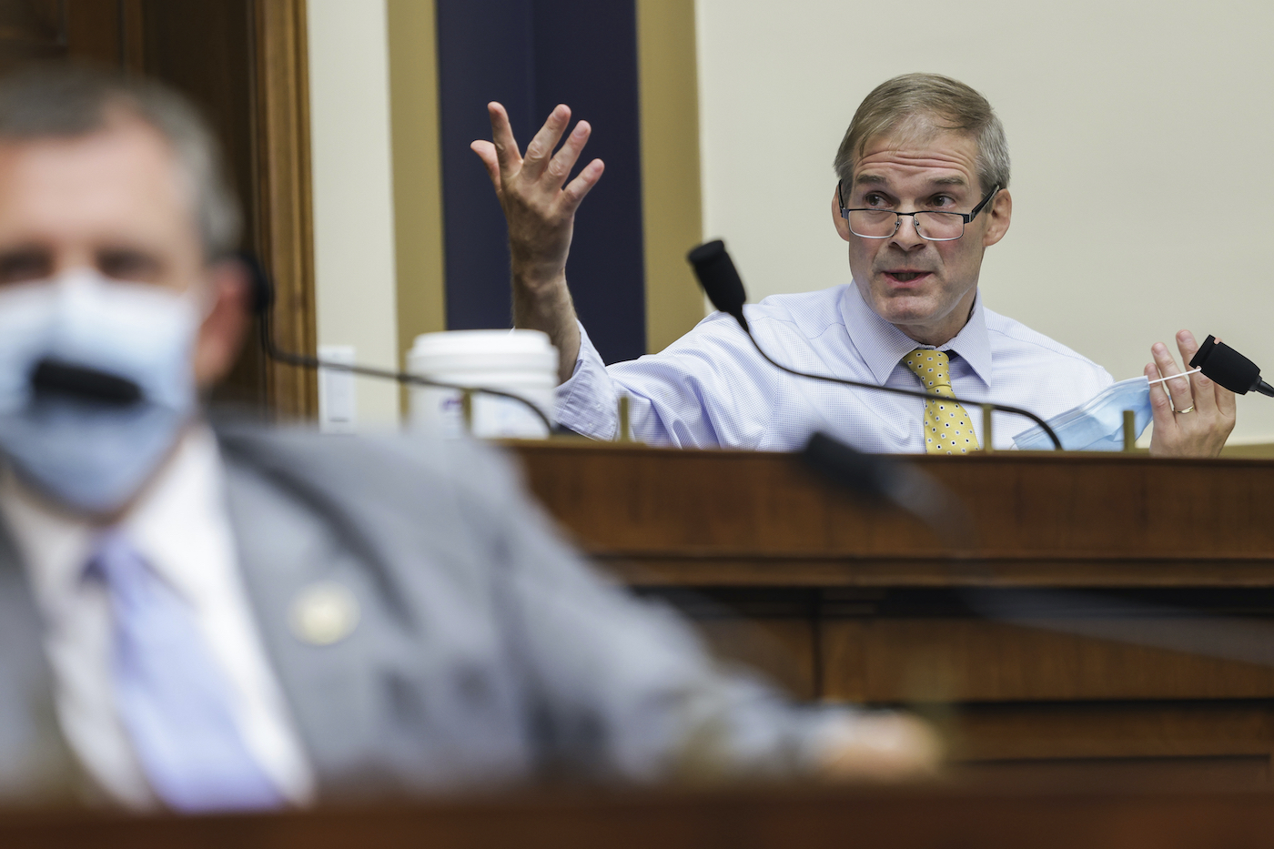 Rep. Jim Jordan, R-Ohio, speaks during a House Judiciary subcommittee hearing on antitrust on Capitol Hill on Wednesday, July 29, 2020, in Washington. (Graeme Jennings/Pool via AP)