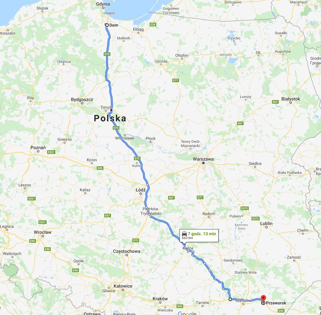 trasa Google Maps