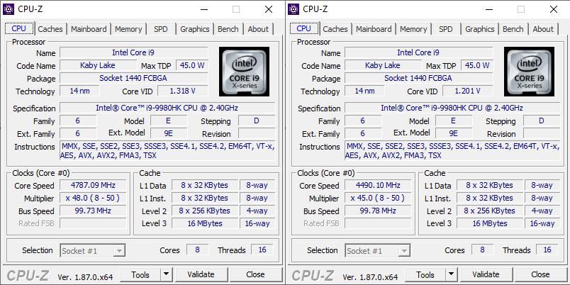 Intel NUC 9 Extreme CPUZ