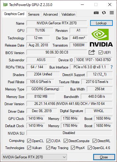Intel NUC 9 Extreme RTX 2070 GPUZ