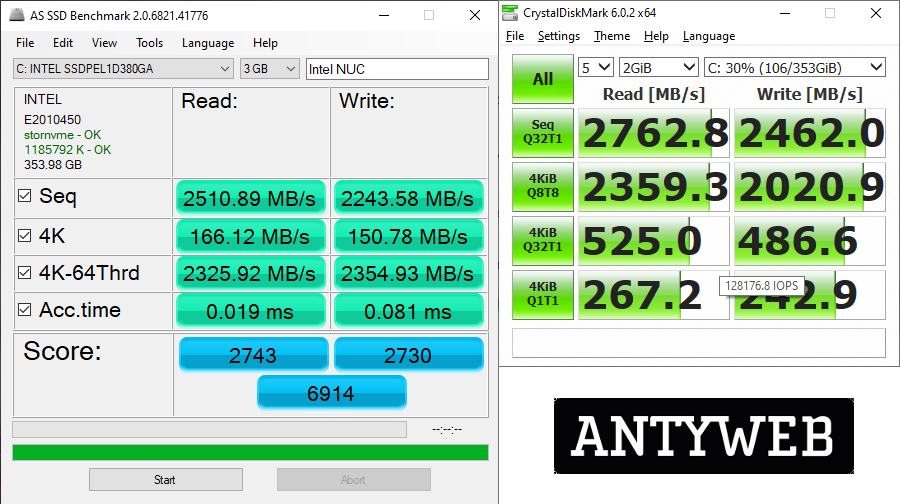 Intel NUC 9 Extreme wydajność Intel Optane 905P