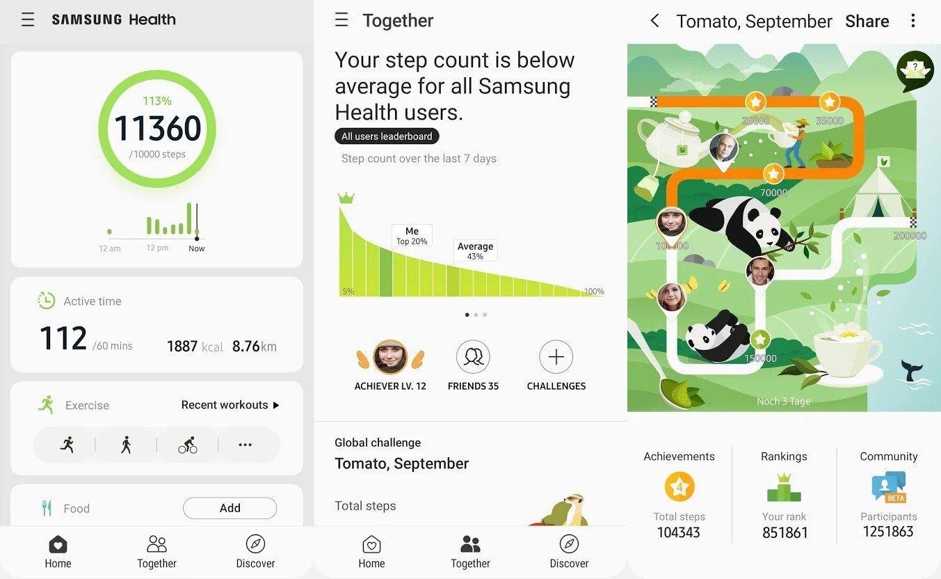 konto Samsung i Samsung Health