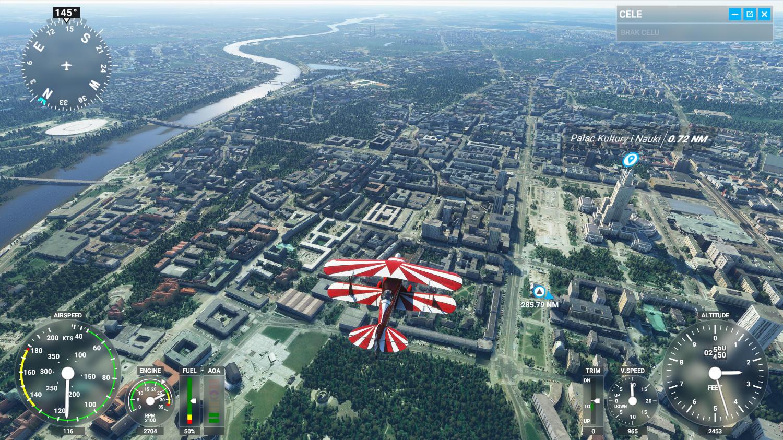 Lot nad Warszawą Microsoft Flight Simulator